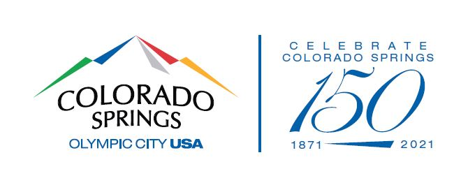 the logo of the City of Colorado Springs plus the number 150 representing how many years it has been in existance